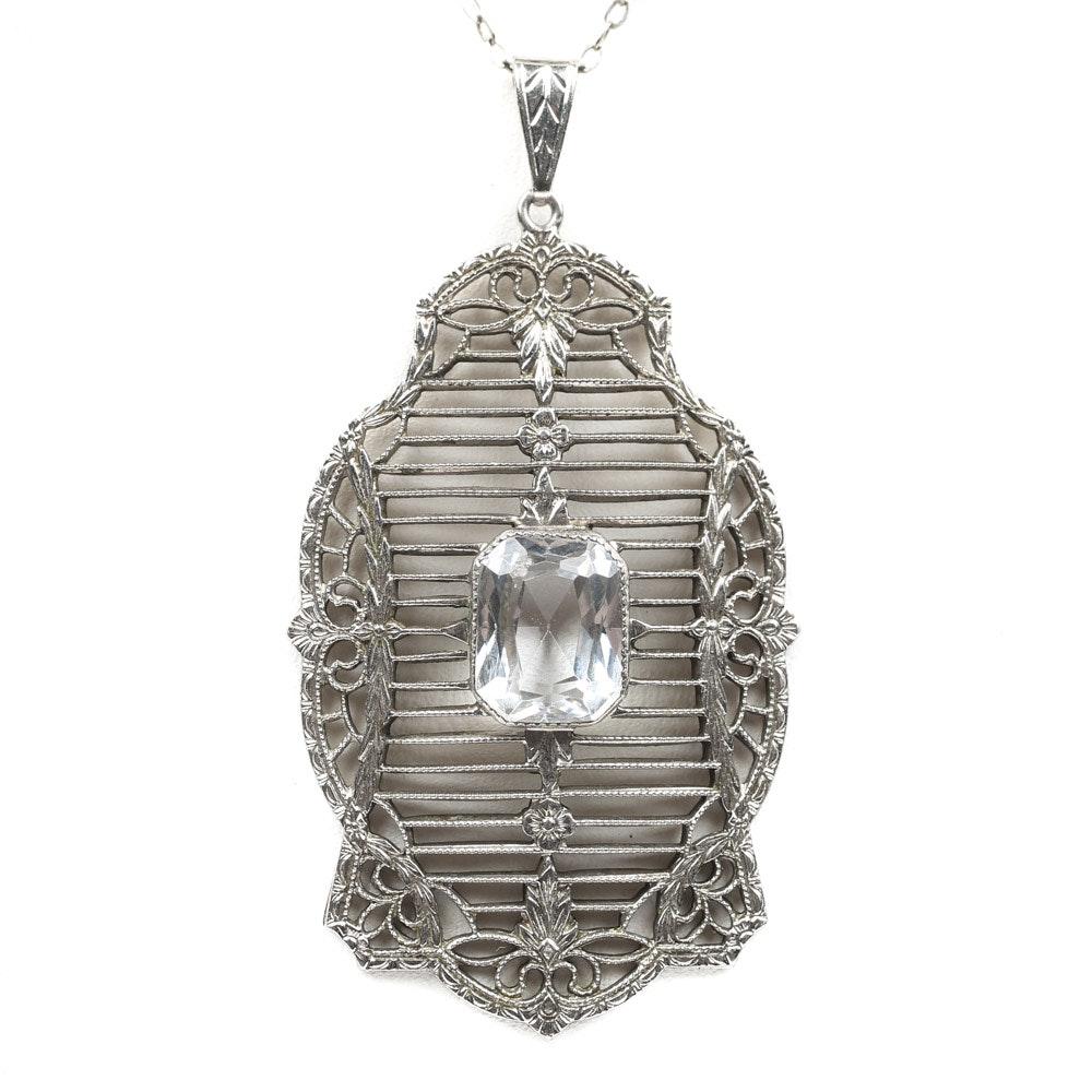 Antique Edwardian Sterling Silver Filigree 4.00 CT Topaz Pendant Necklace
