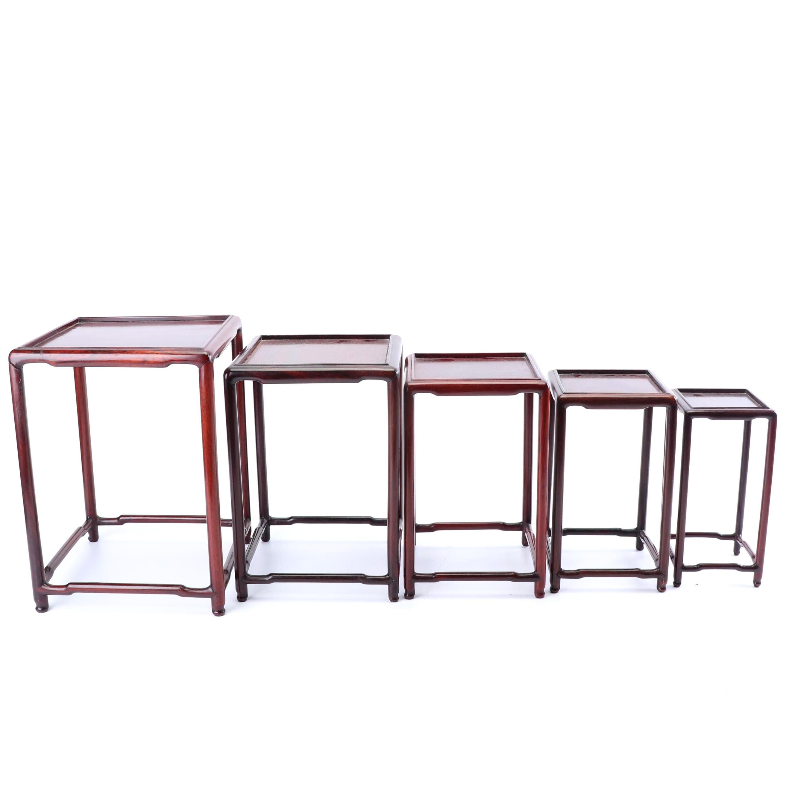 Set of Five Nesting Rosewood Stands