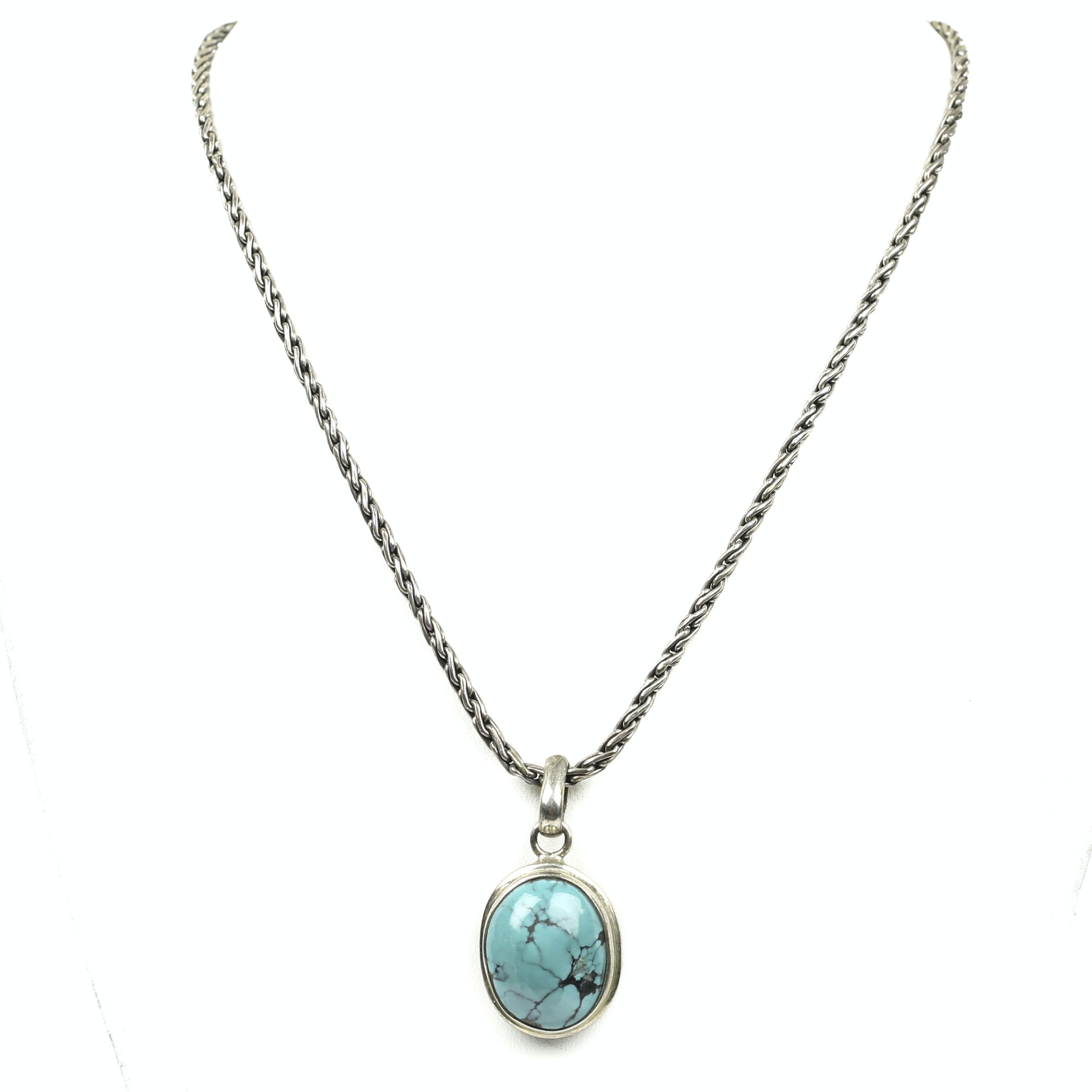 Sterling Silver Bezel Set Turquoise Pendant Necklace
