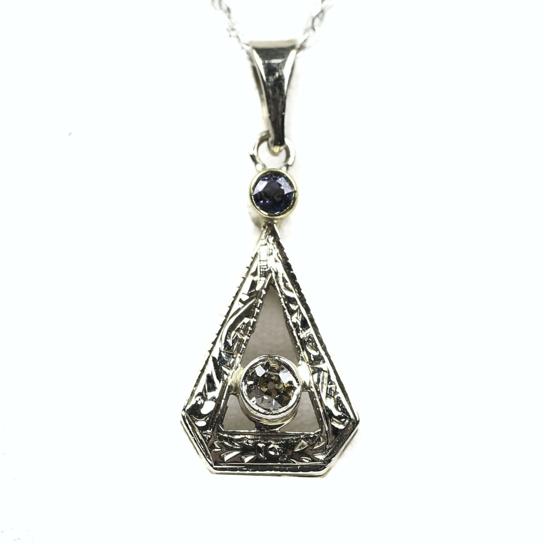 Art Deco 14K Yellow Gold Diamond and Sapphire Pendant on 10K White Gold Necklace