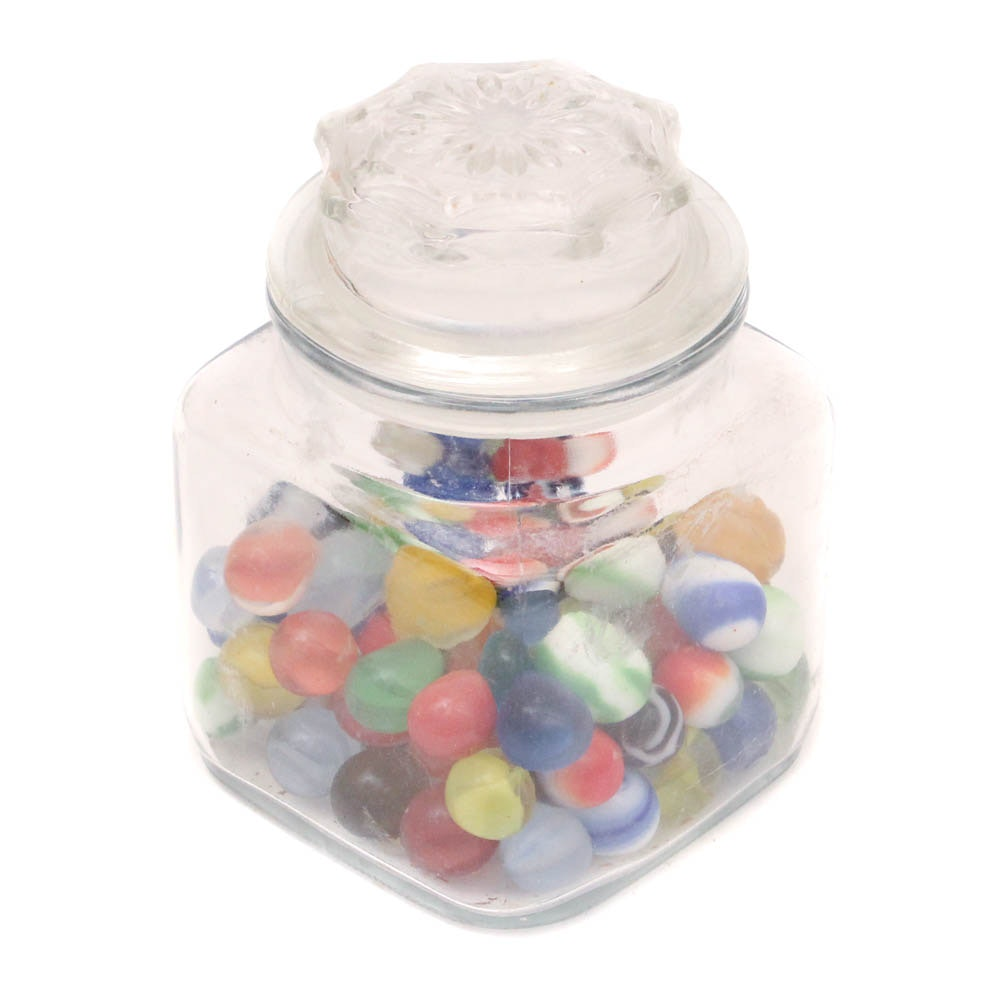 Vintage Marbles in Glass Jar