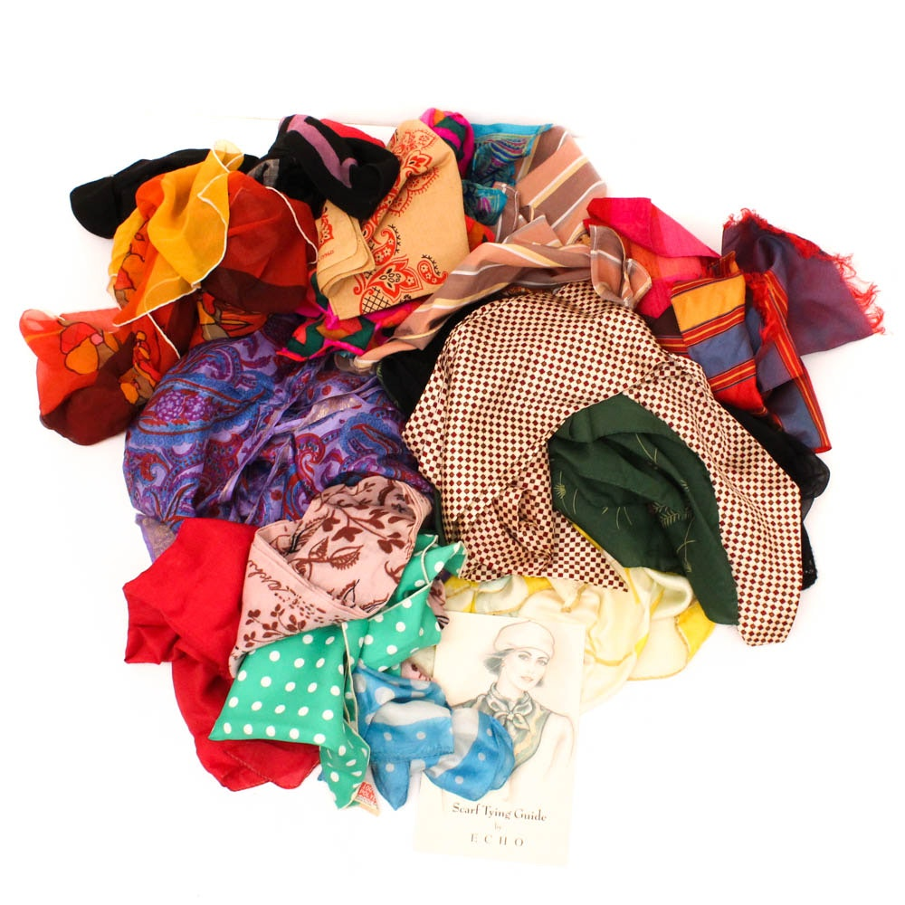 Women's Vintage Fashion Scarves Including Silk