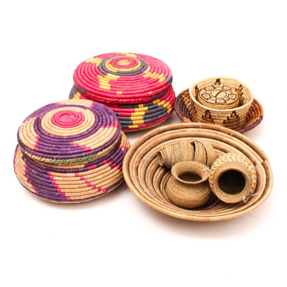 Vintage Handwoven Decorative Baskets