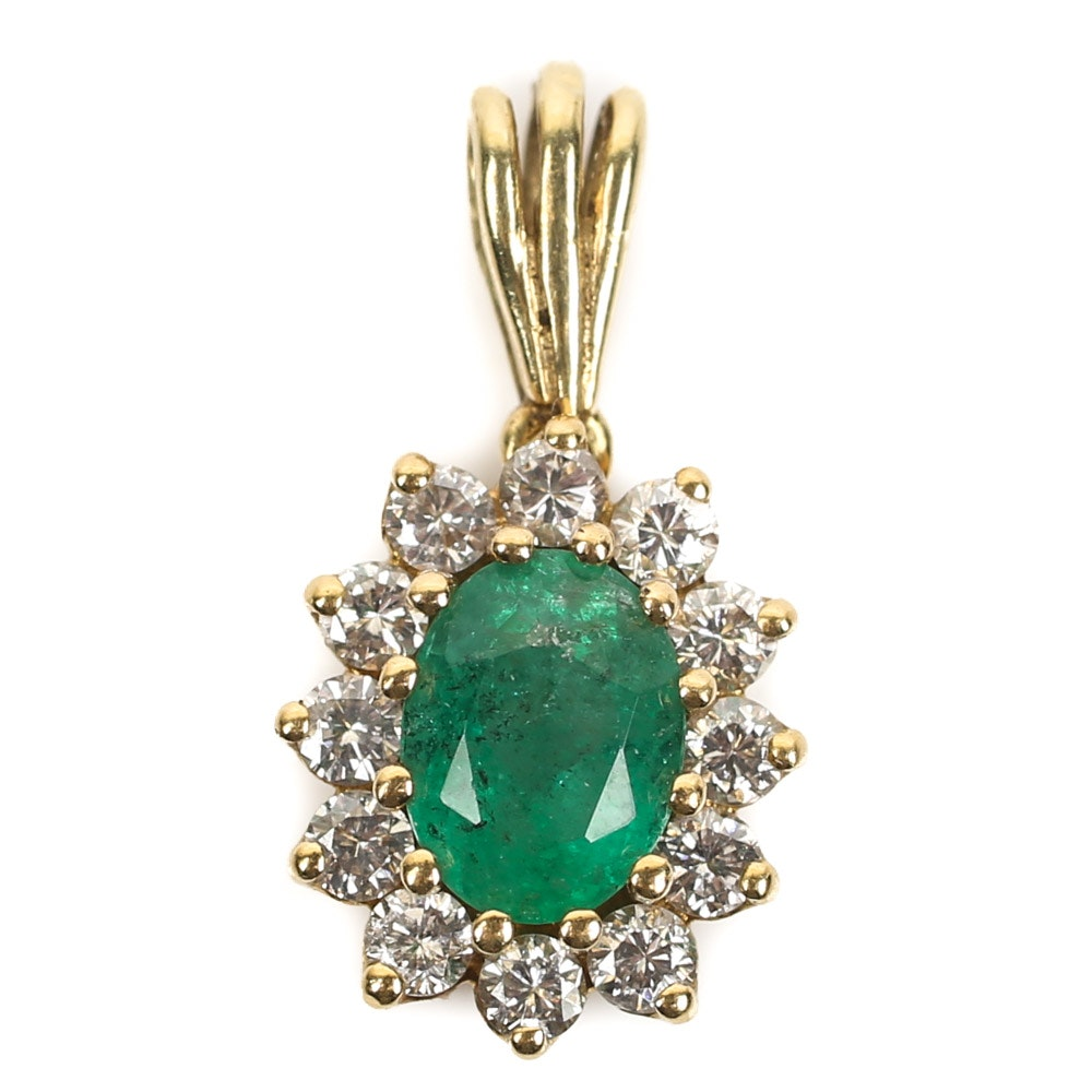 18K Yellow Gold Emerald and Diamond Halo Pendant