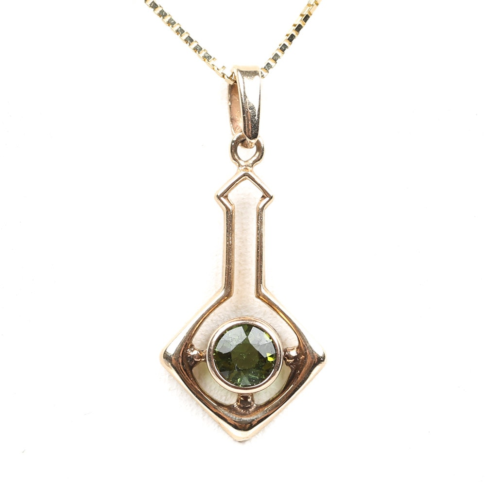 14K Yellow Gold Tourmaline Pendant Necklace