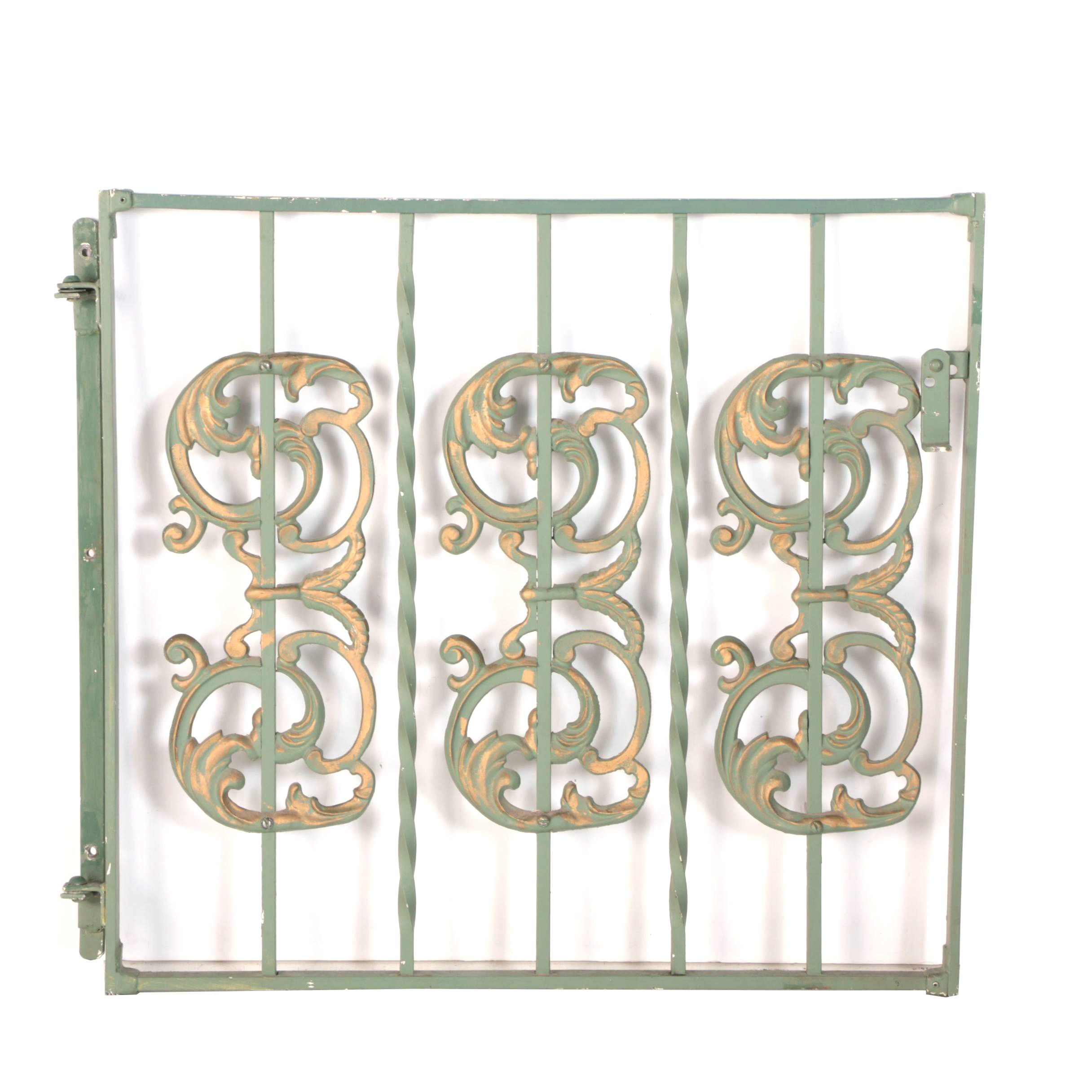 Vintage Green Metal Garden Gate Door