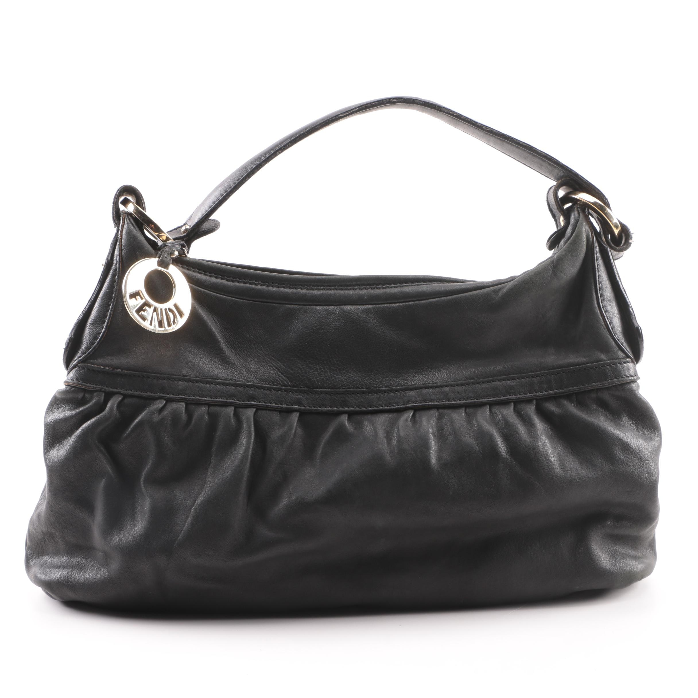Fendi Black Leather Hobo Bag