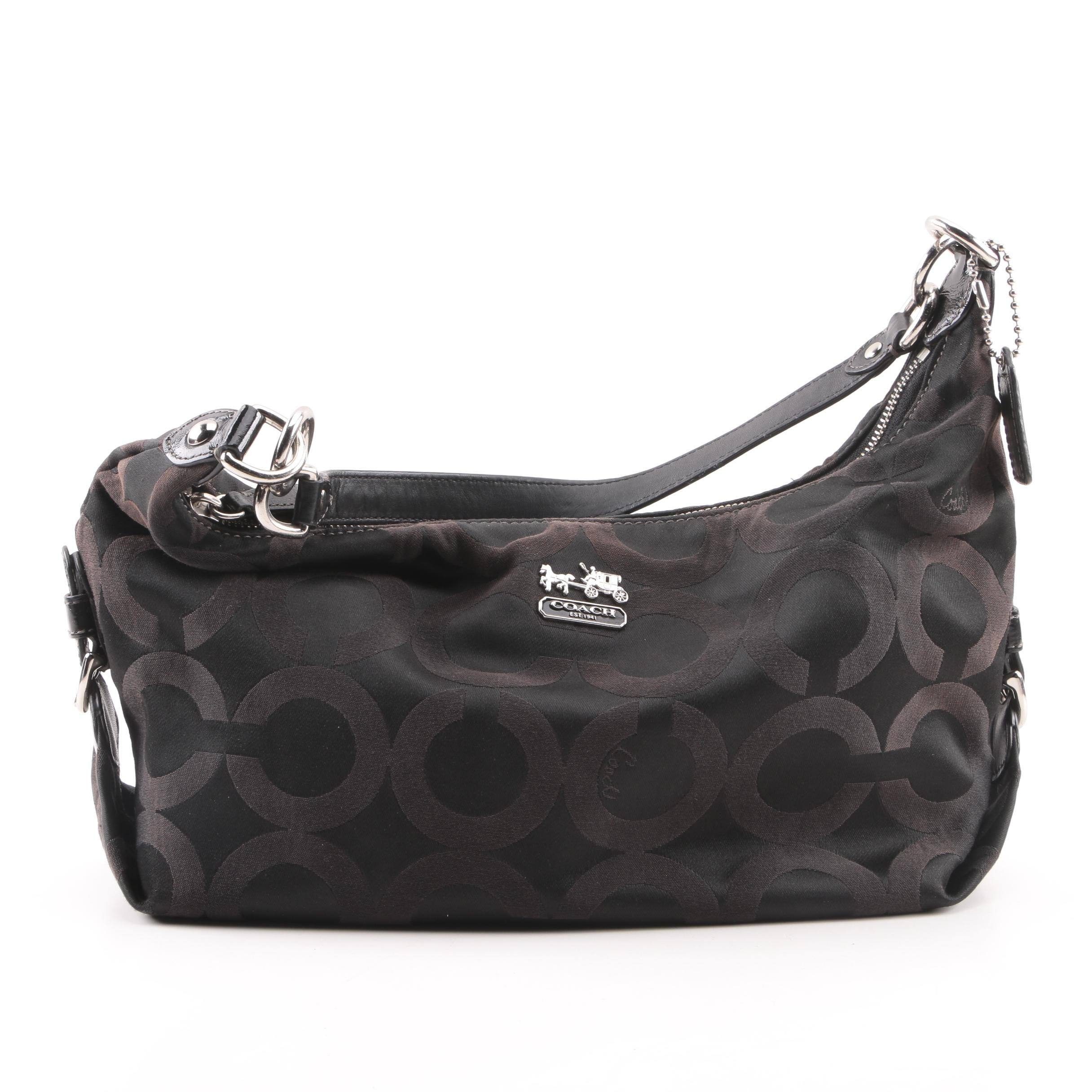 Coach Madison Op Art Hailey Black Hobo Bag