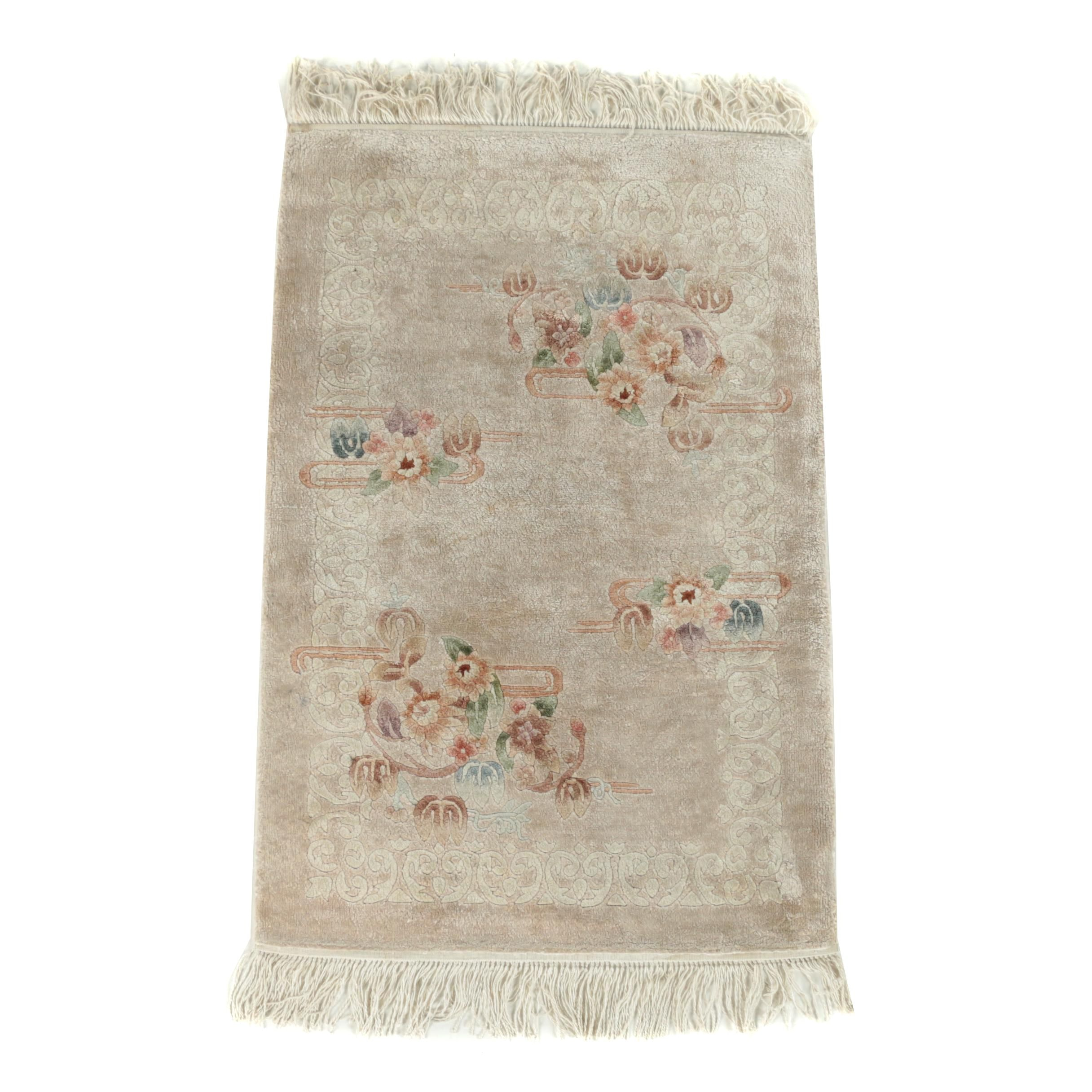 Hand-Knotted Chinese Carved Wool and Silk Blend Accent Rug
