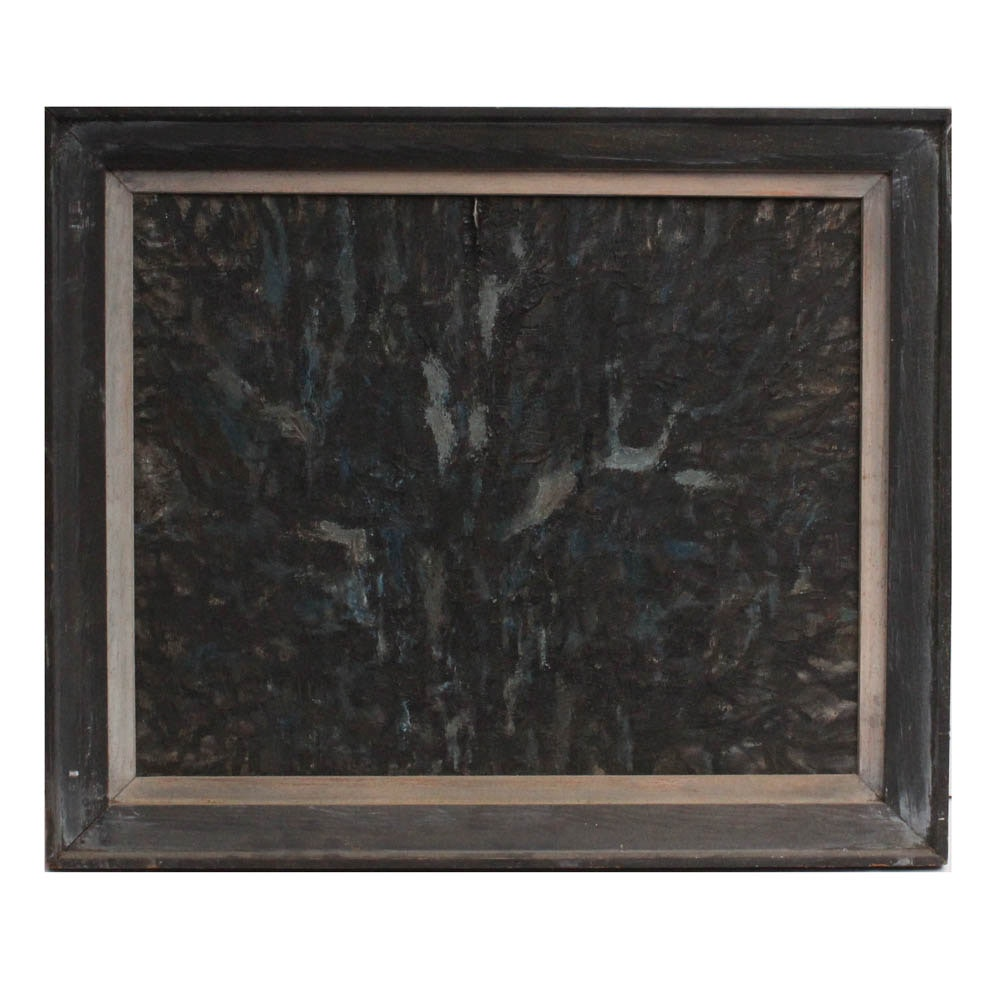 "Adele Chafetz 1964 Oil on Canvas Painting ""Night Woods"""
