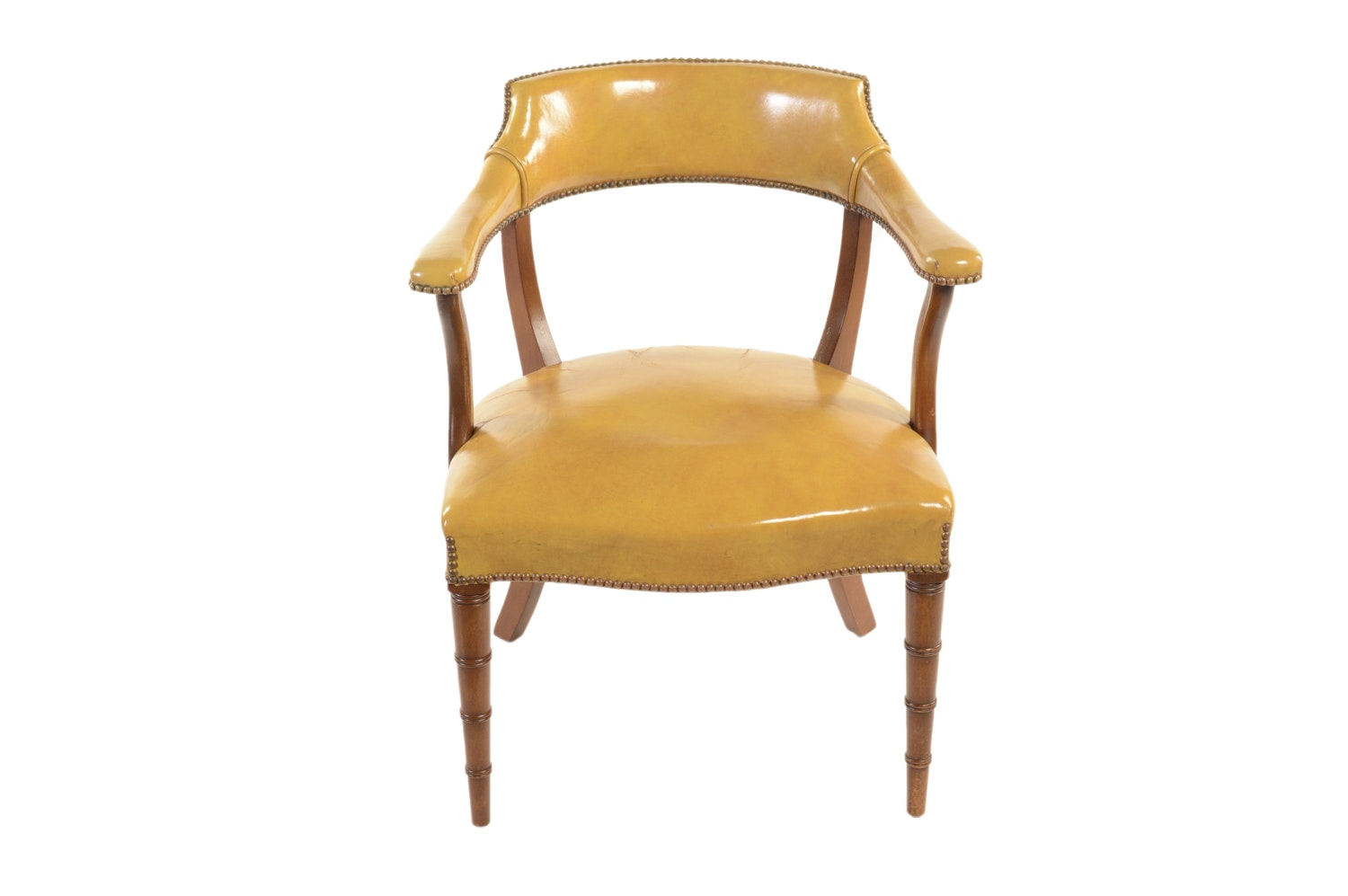 Yellow Leather Upholstered Chair by Hickory Chair Company