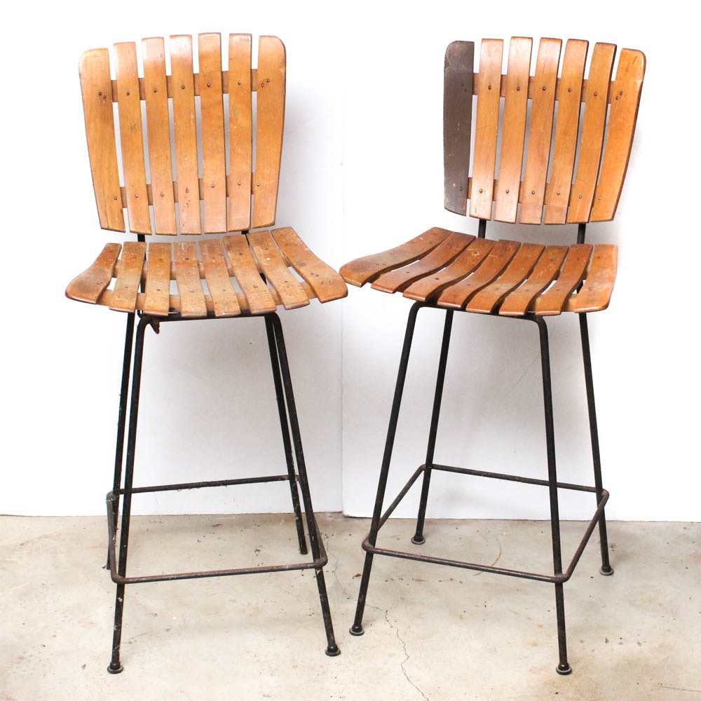 Two Mid Century Modern Barstools in the Style of Arthur Umanoff