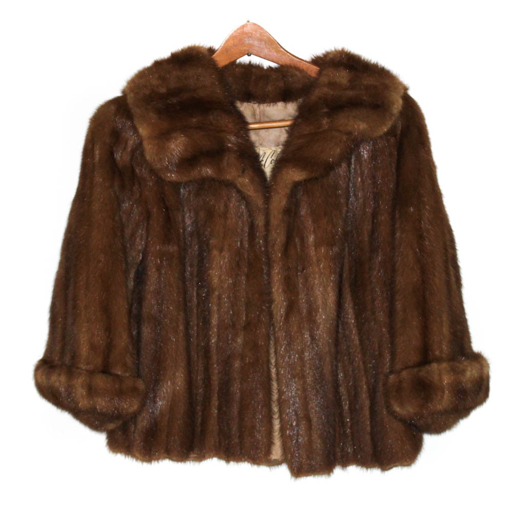Vintage Albert A. Coken Brown Mink Fur Cropped Jacket