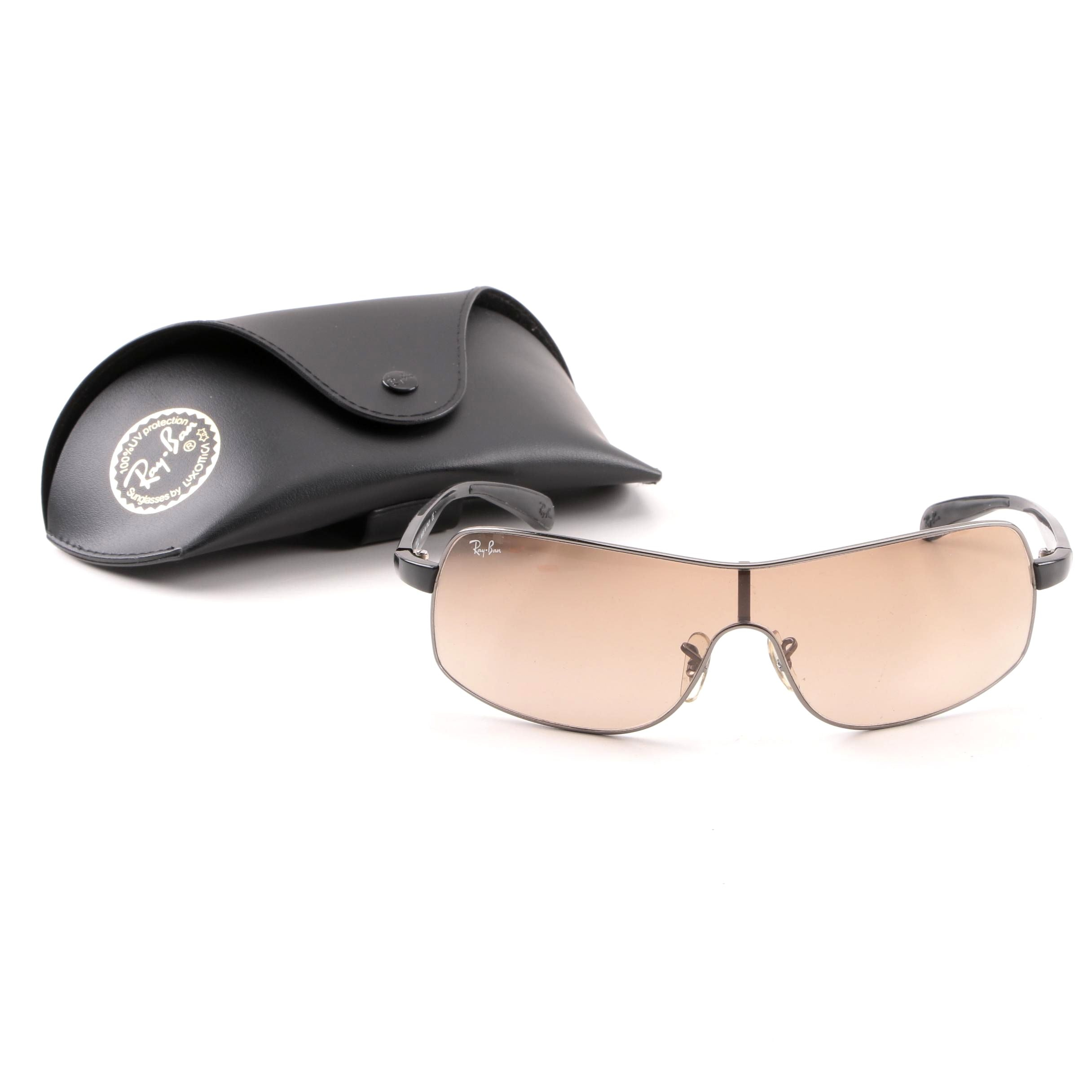 Ray-Ban 3244 Shield Style Sunglasses with Case