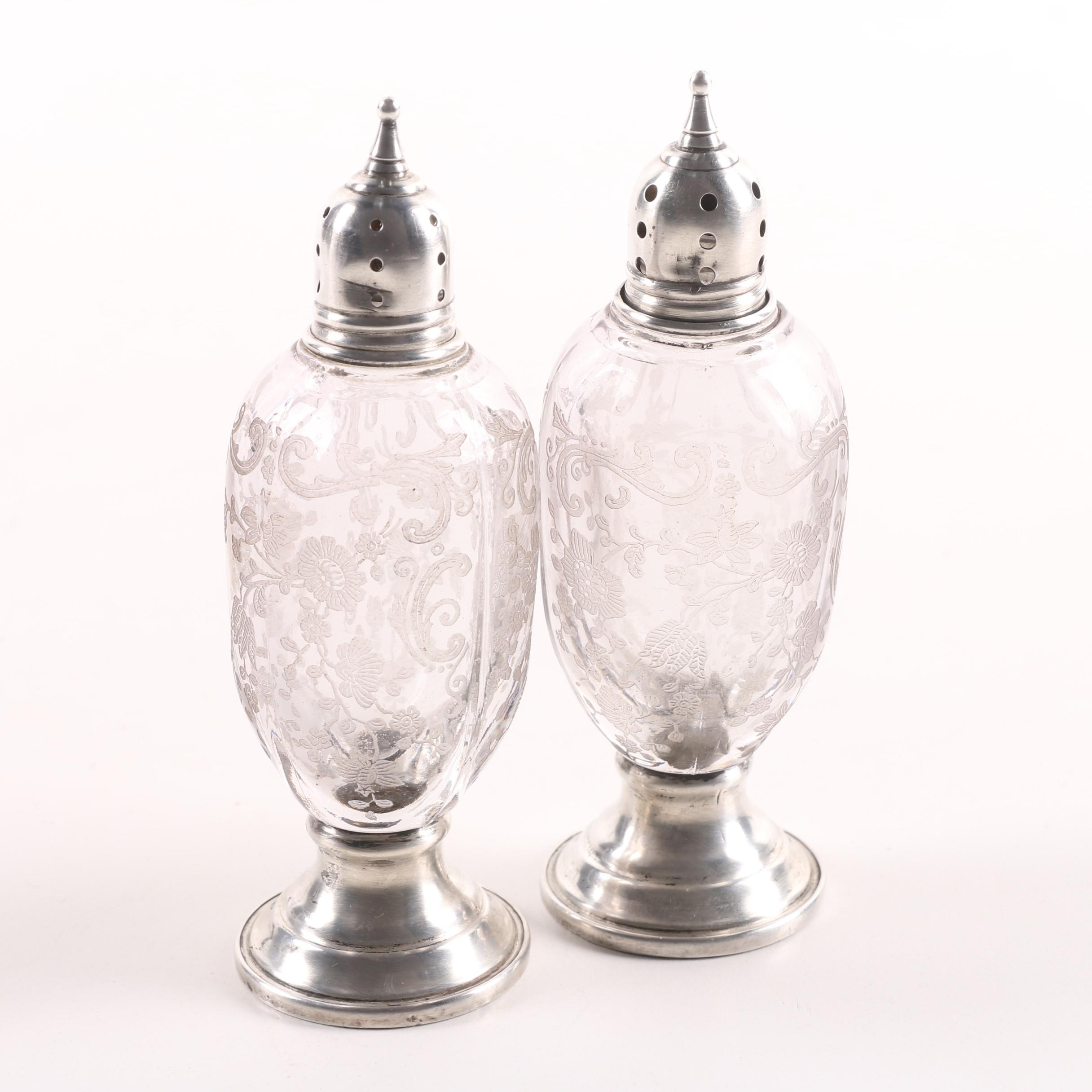 Sheffield Silver Co. Weighted Sterling and Glass Salt and Pepper Shaker Set