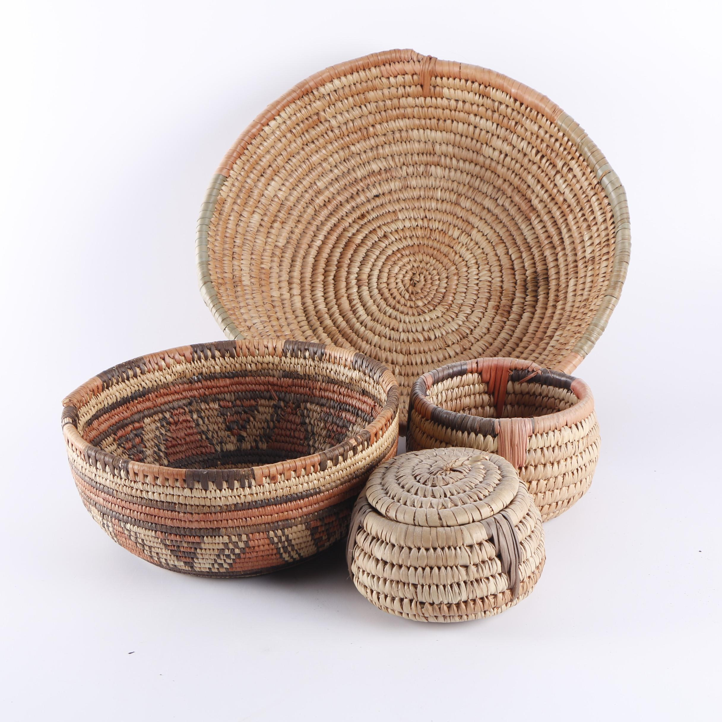 Vintage African Style Coil Baskets