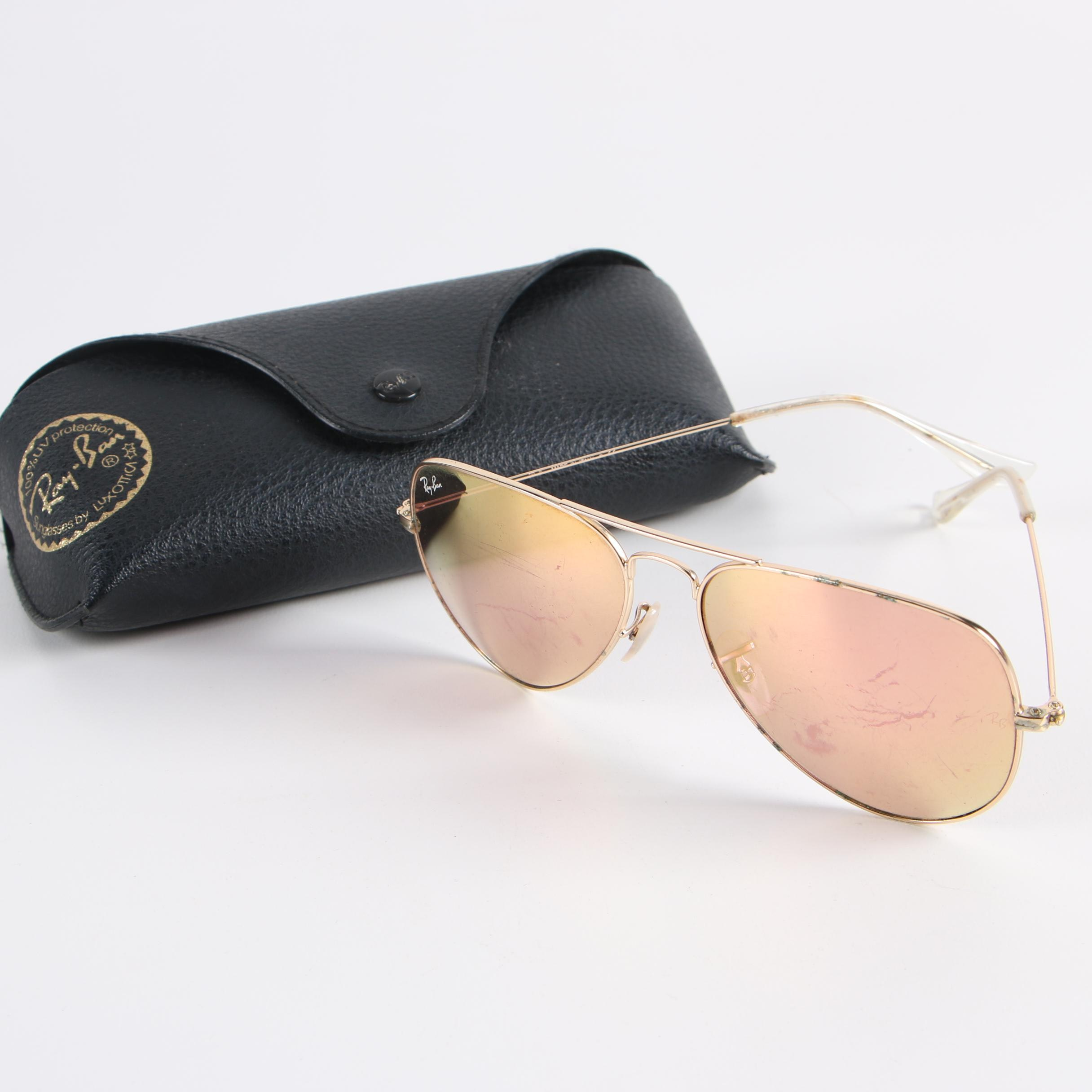 Ray-Ban Aviator Style Polarized Sunglasses with Case