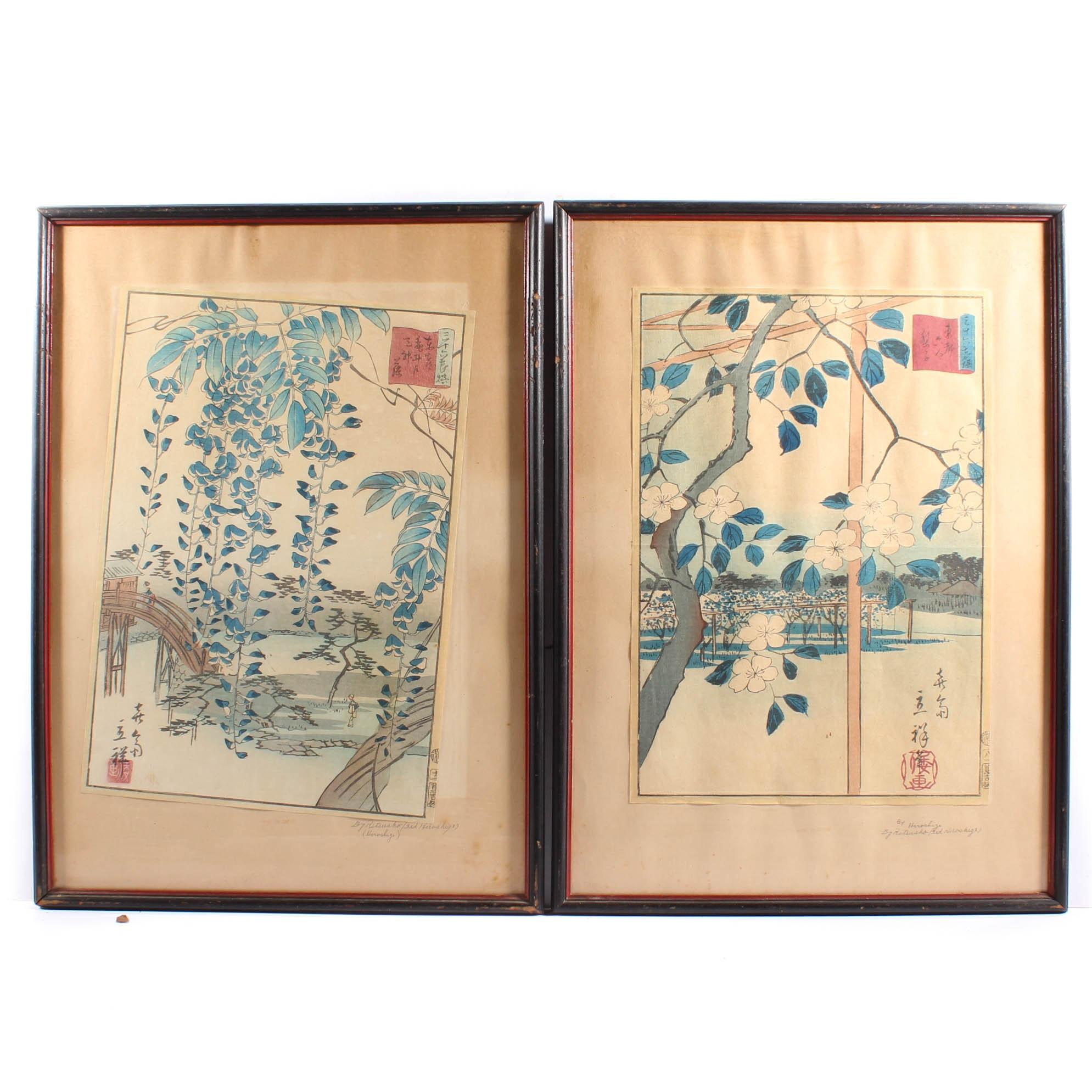 Vintage Hiroshige Japanese Woodblock Prints