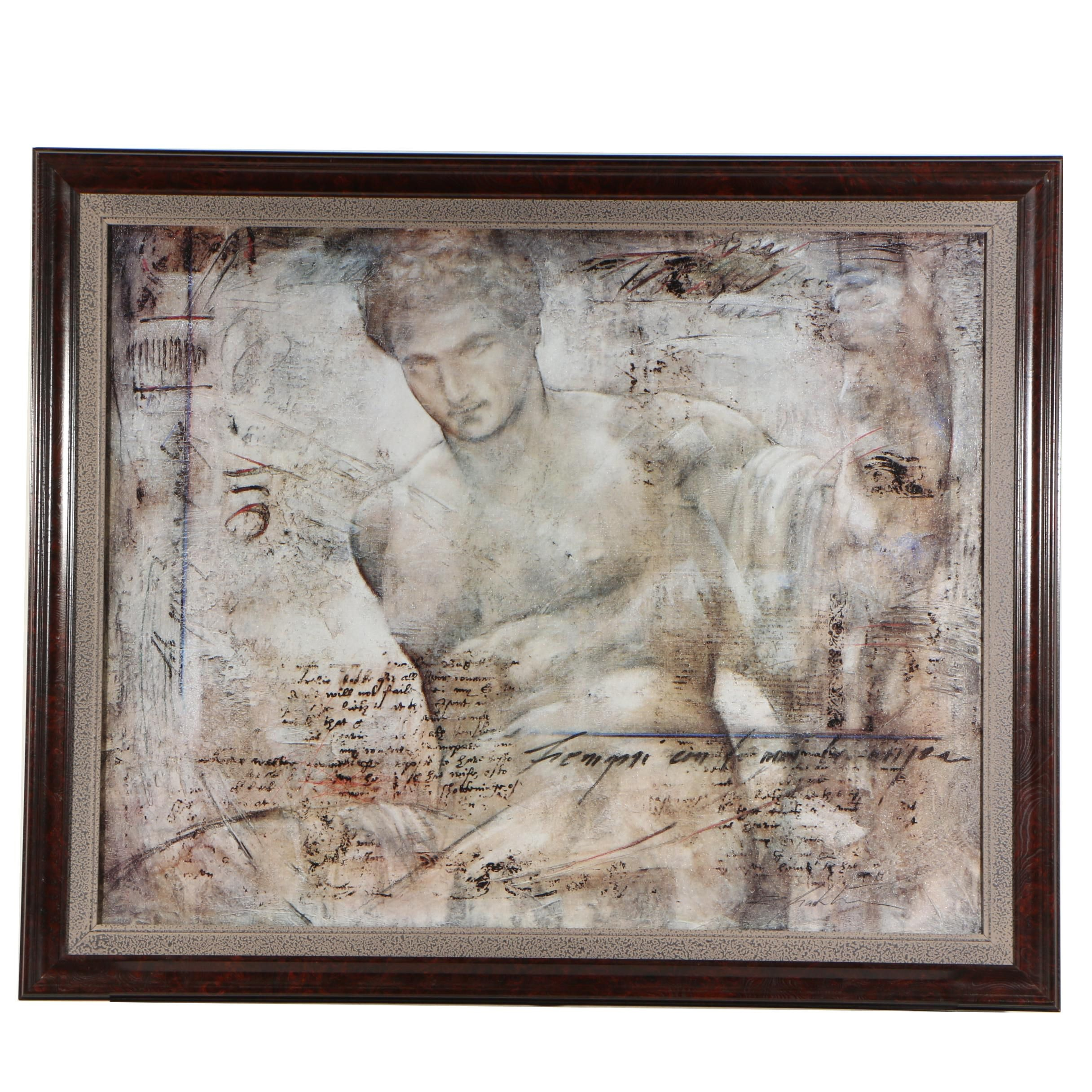 "Embellished Offset Lithograph after Richard Franklin ""Achelous"""