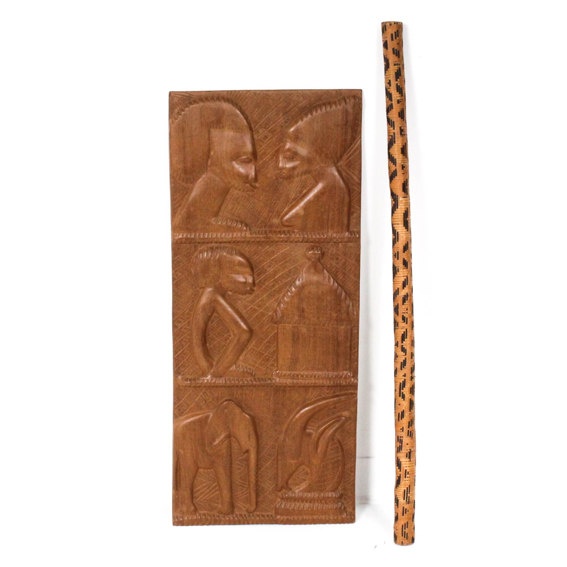 East African Style Wall Hanging and Rain Stick
