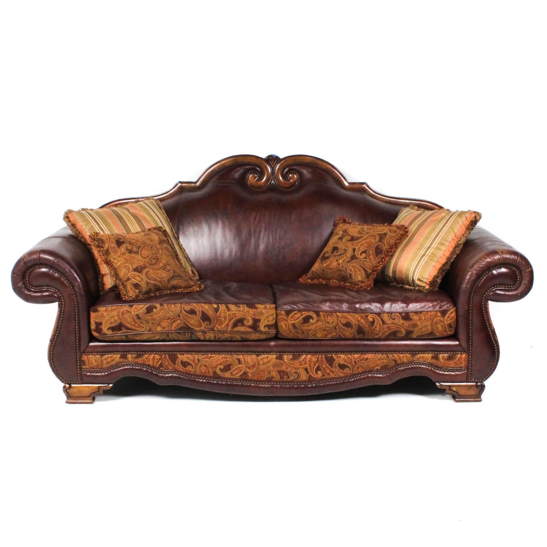 Michael Amini Leather and Paisley Sofa