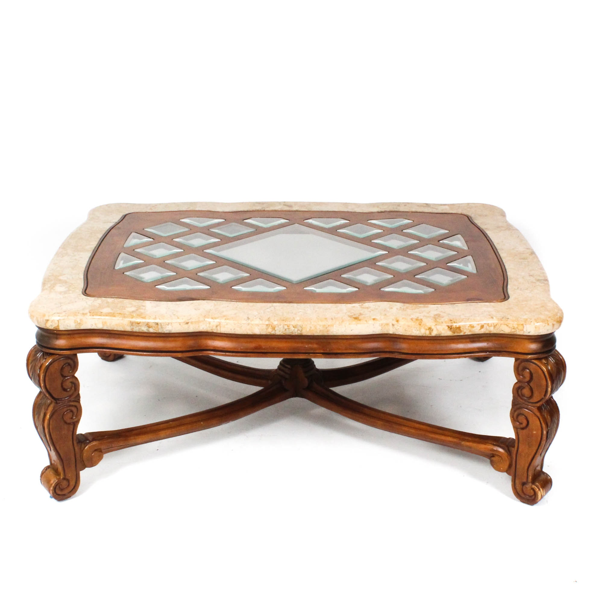 Michael Amini Marble and Wood Coffee Table