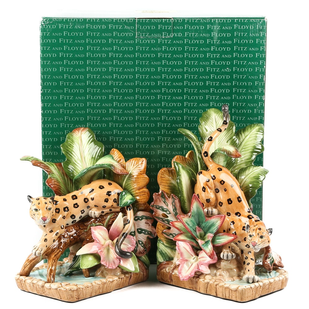 """Fitz and Floyd """"Exotic Jungle"""" Bookends"""