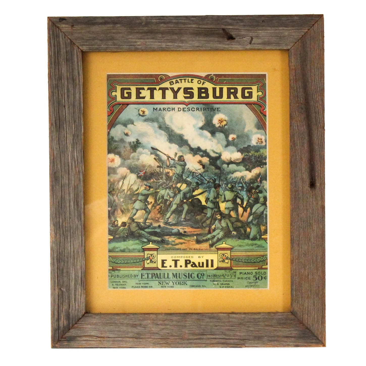 "Framed Antique Music Score ""The Battle of Gettysburg"""