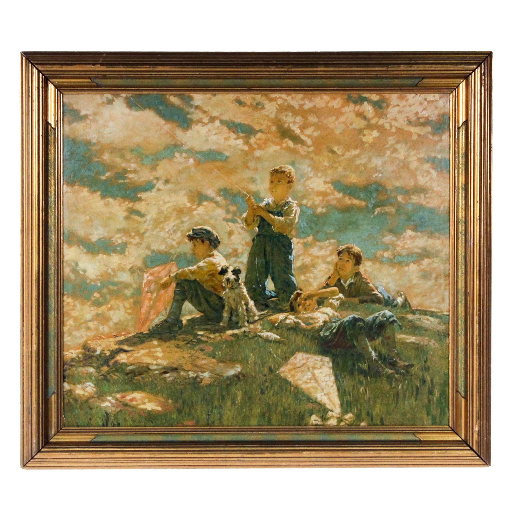 Vintage Hand-Embellished Offset Lithograph of Boys with Kites