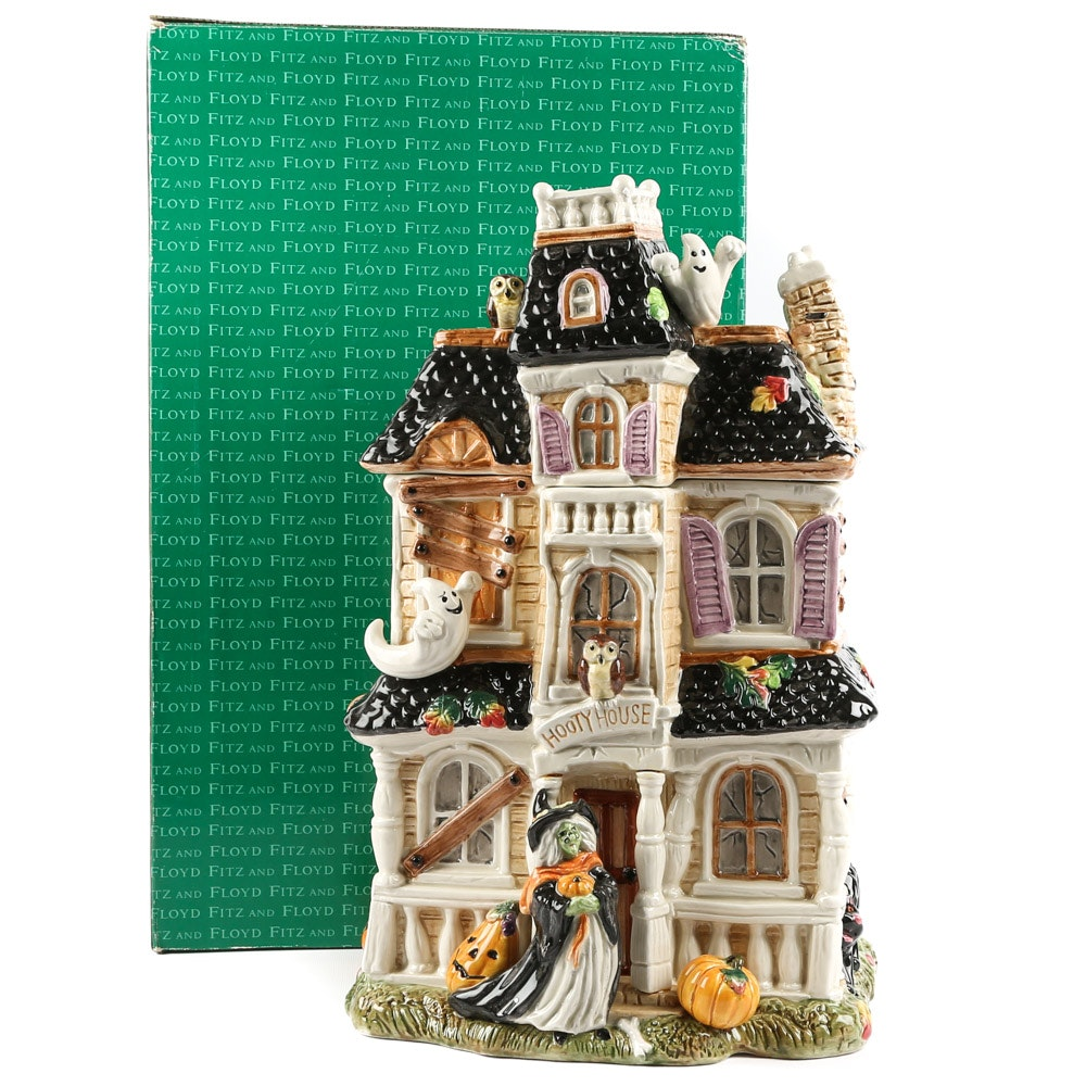 "Fitz and Floyd ""Halloween Harvest"" Haunted House Cookie Jar"