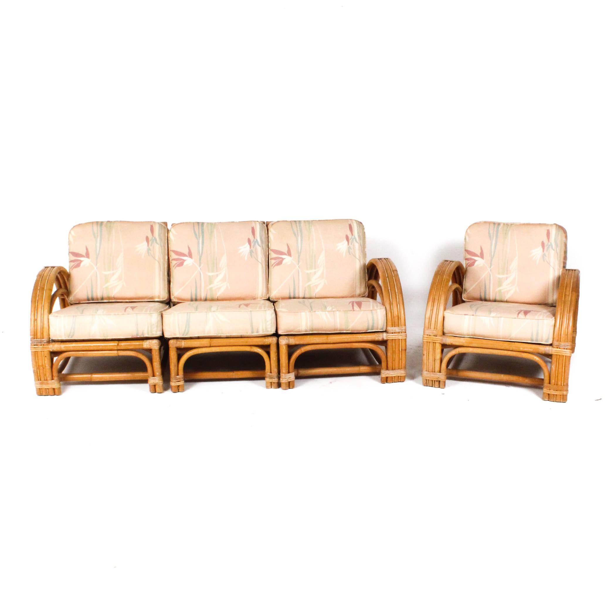 Vintage Calif-Asia Bamboo Modular Sofa and Chair