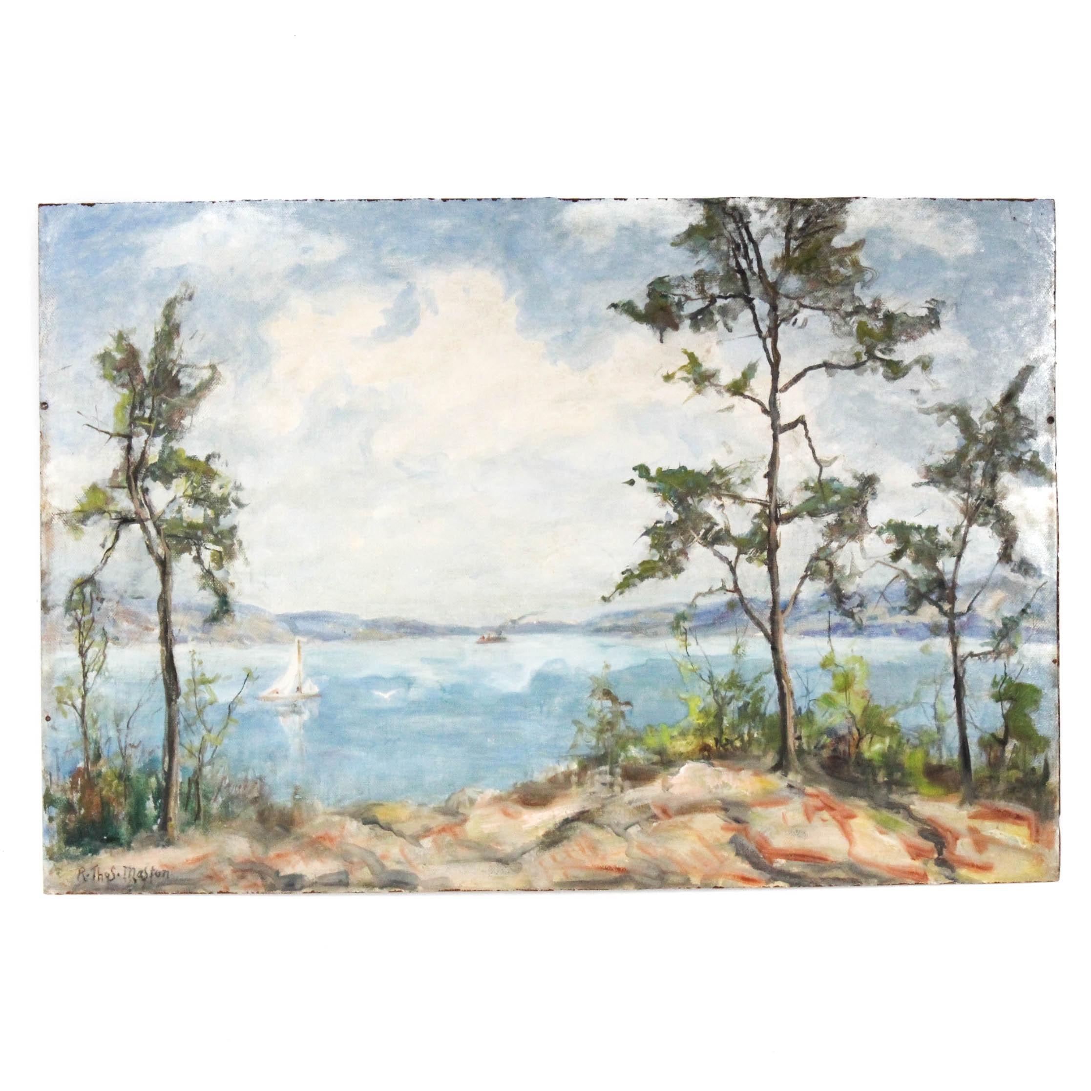 Signed R. Thomas Maston Oil Painting of Lake Landscape