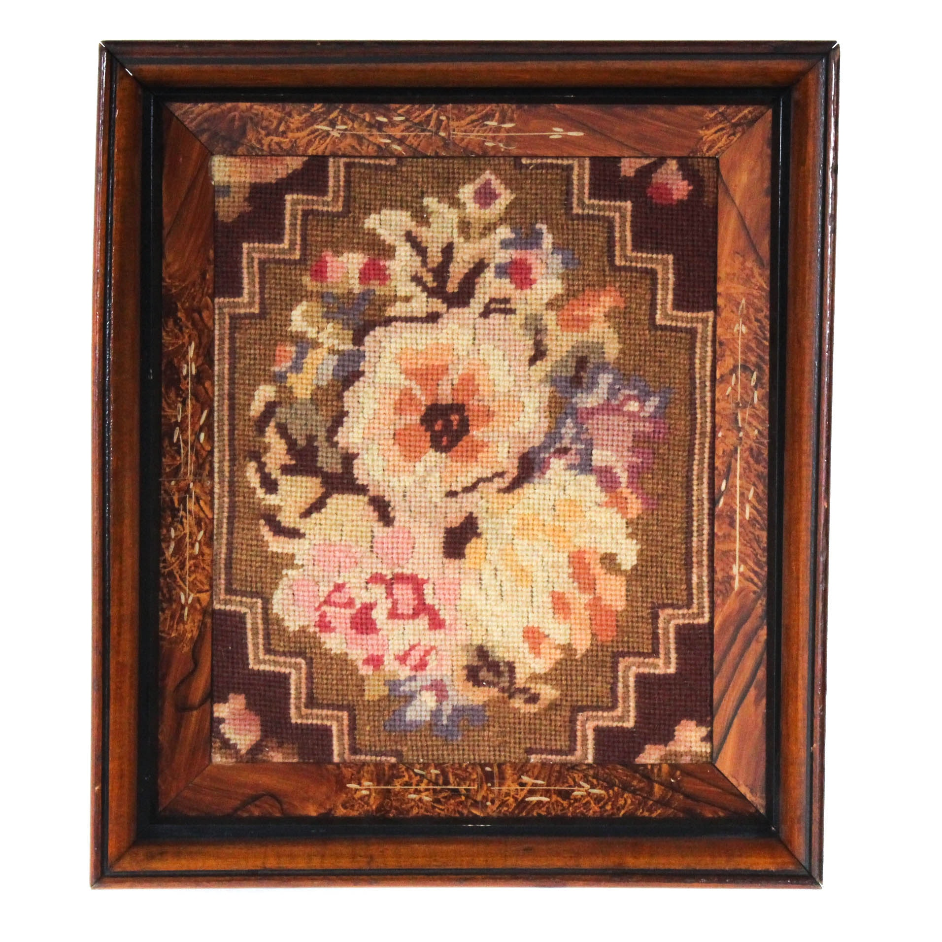 Vintage Needlepoint in Hand-Etched Frame