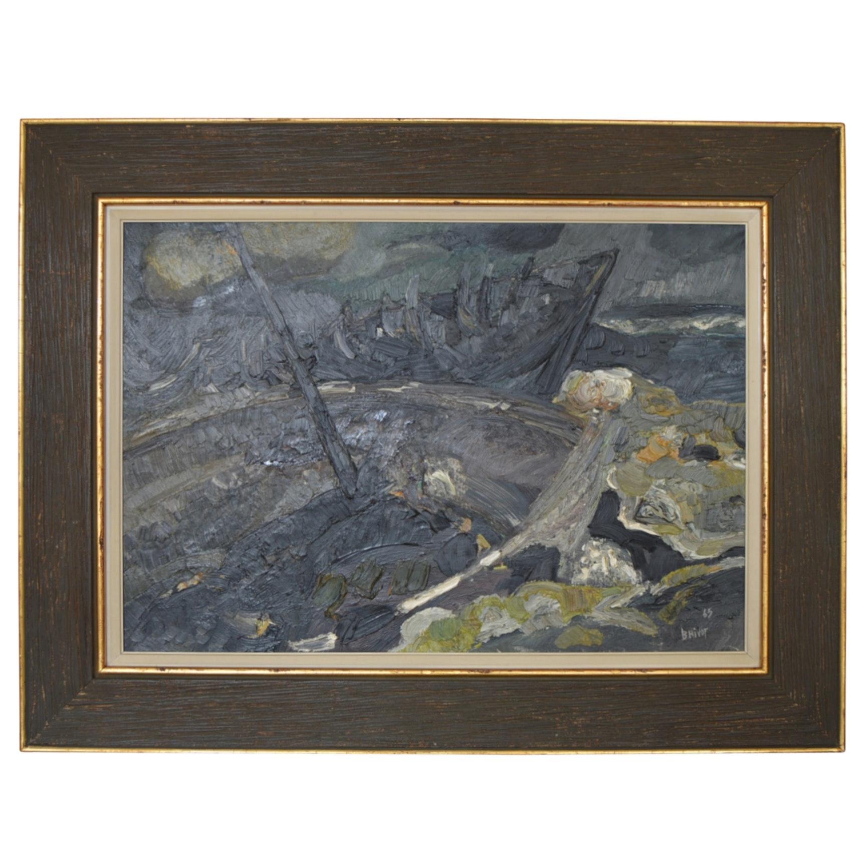 """Jacques Brivot Oil Painting """"Carcasses Echouees"""""""