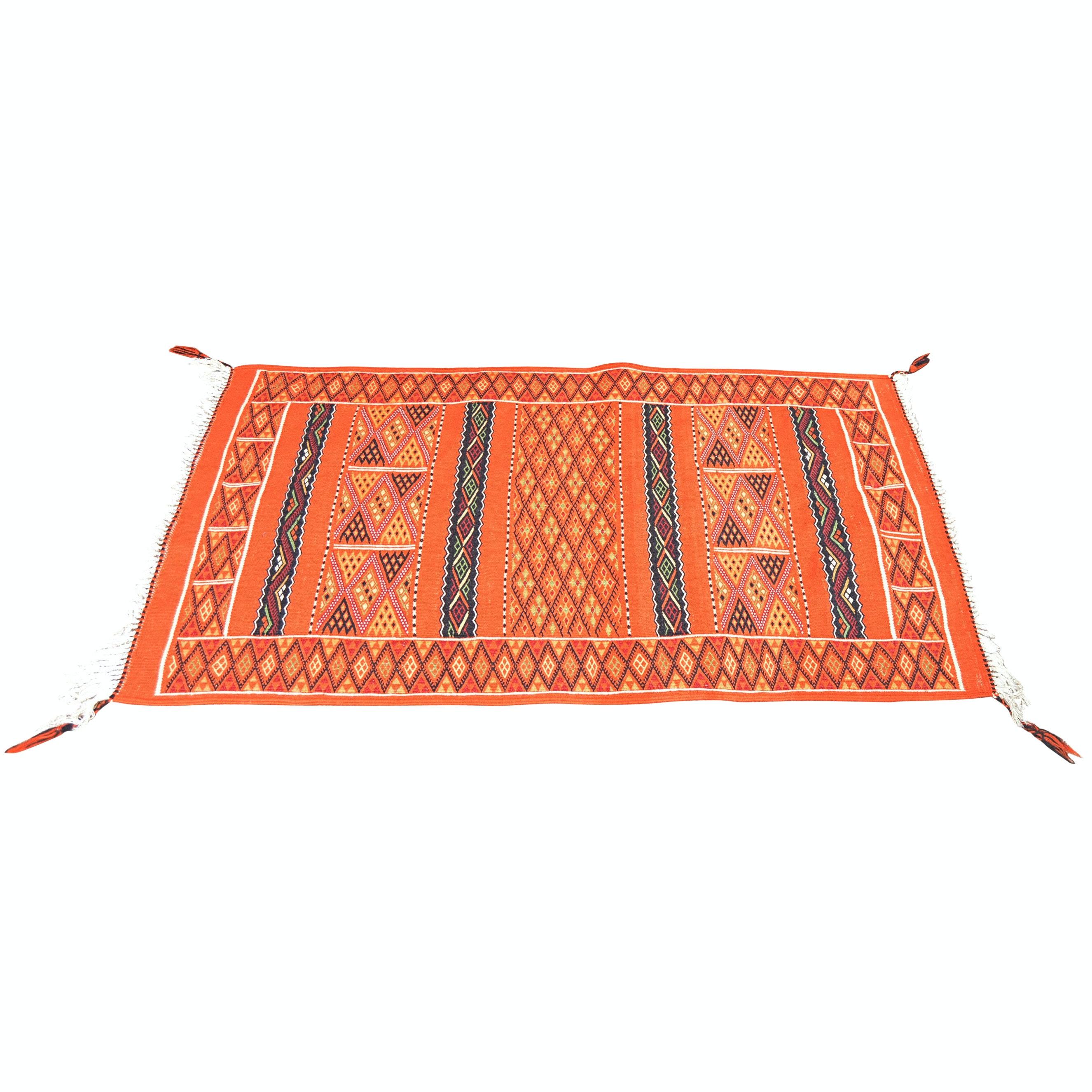 Handwoven Ghardaia Algerian Berber Wool Accent Rug