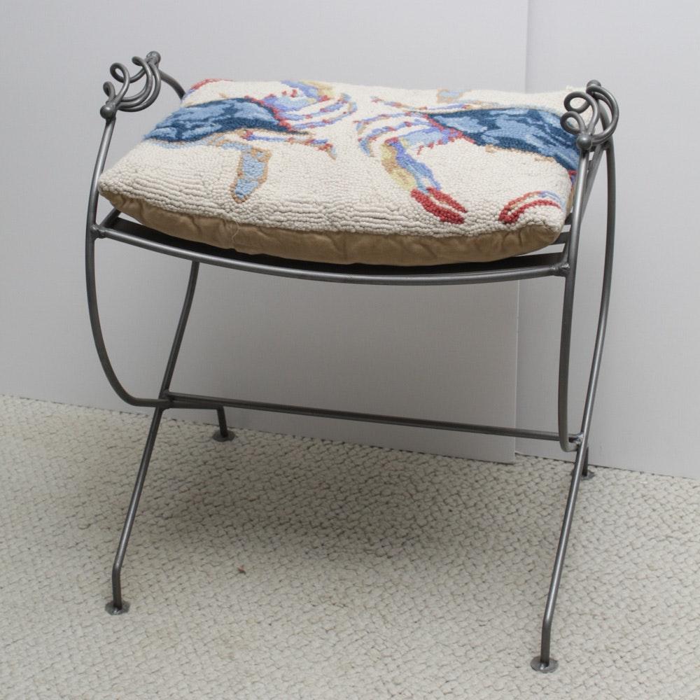 Contemporary Wrought Metal Vanity Bench