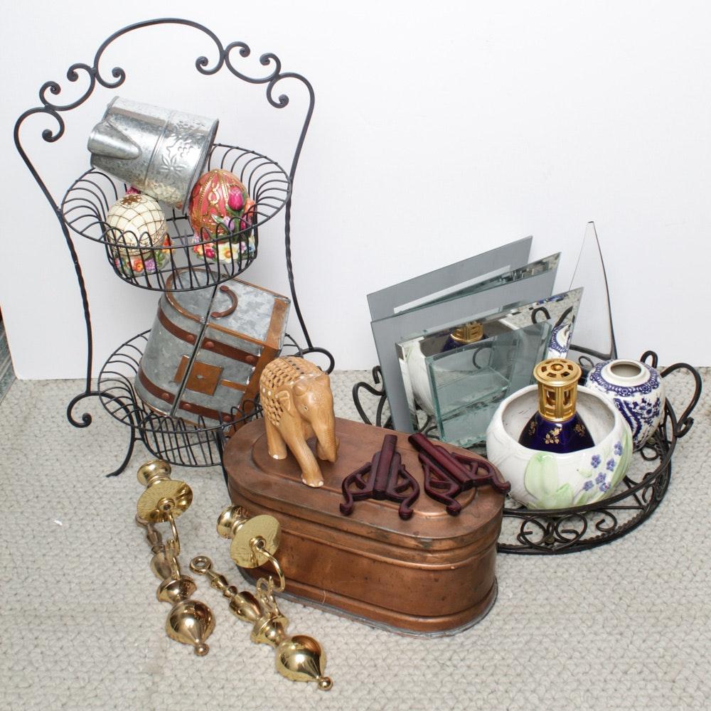 Oil Scent Lamp, Copper Box and Home Decor Featuring Radko