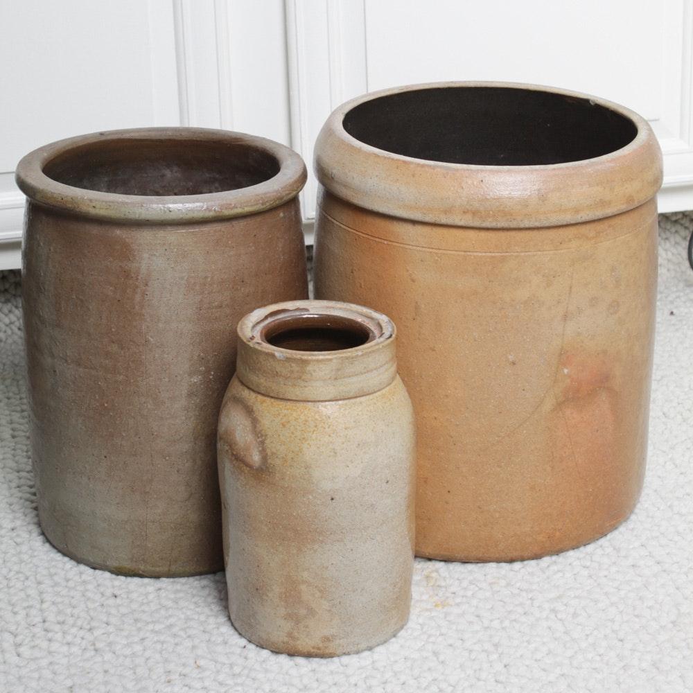 Vintage Salt Glazed Stoneware Crocks