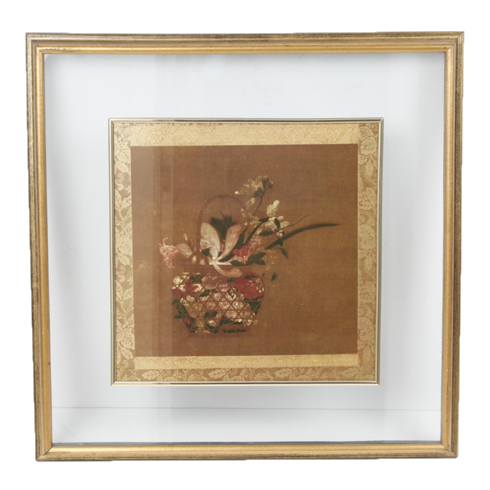 Floral Still Life Offset Lithograph in Floating Frame