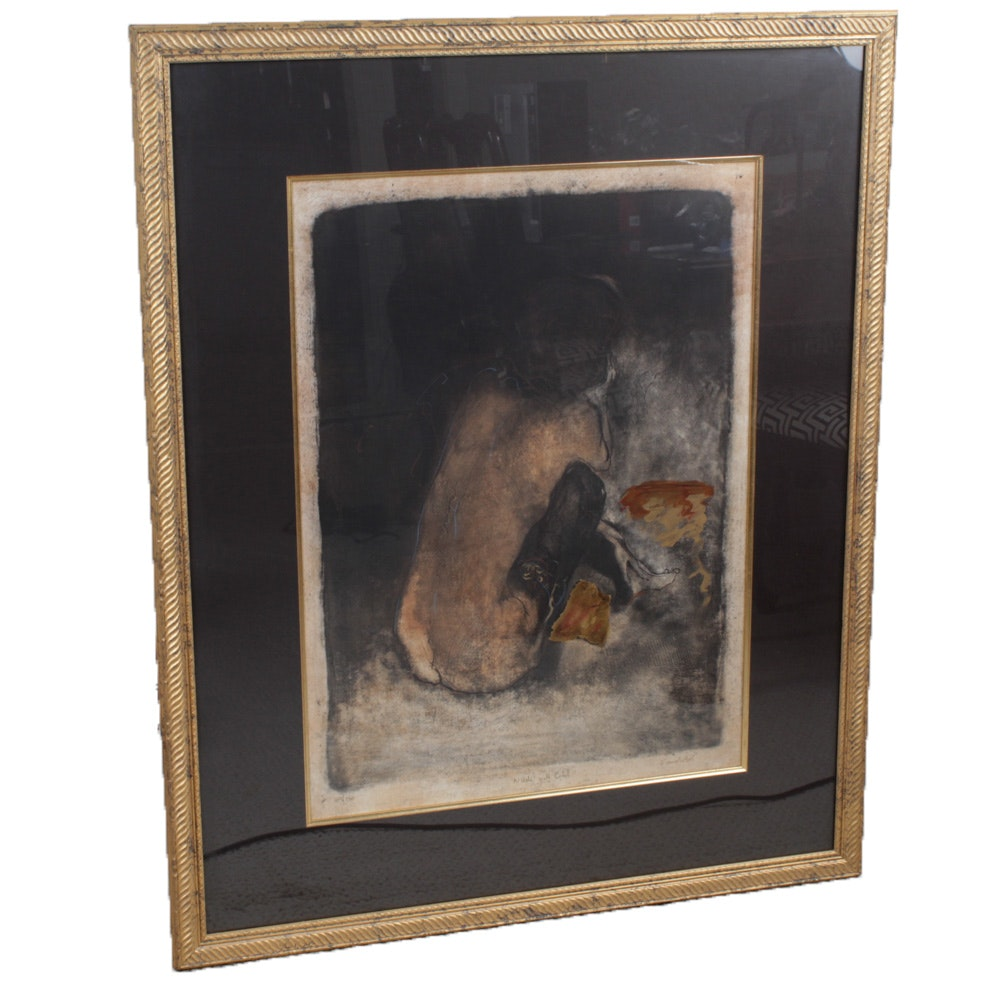 """Roy Fairchild-Woodard Etching with Aquatint """"Nude with Gold"""""""