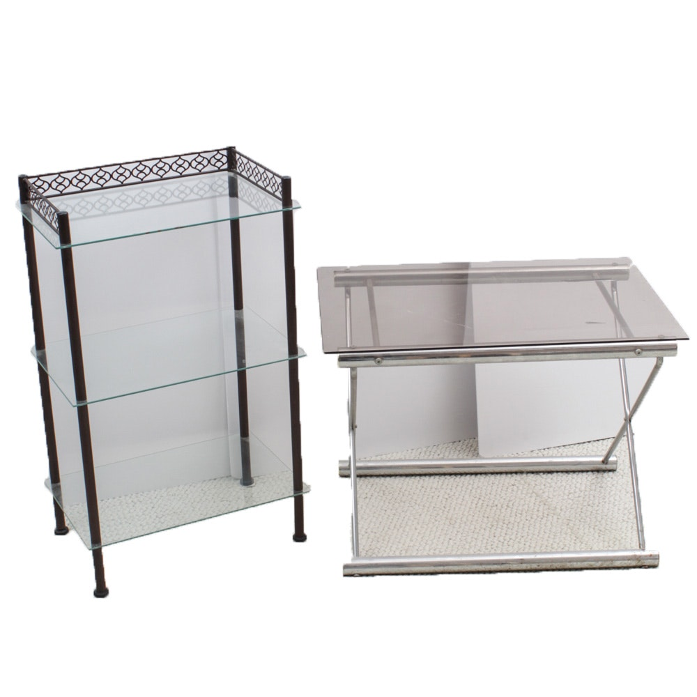 Contemporary Glass Top Accent Table and Shelving Unit
