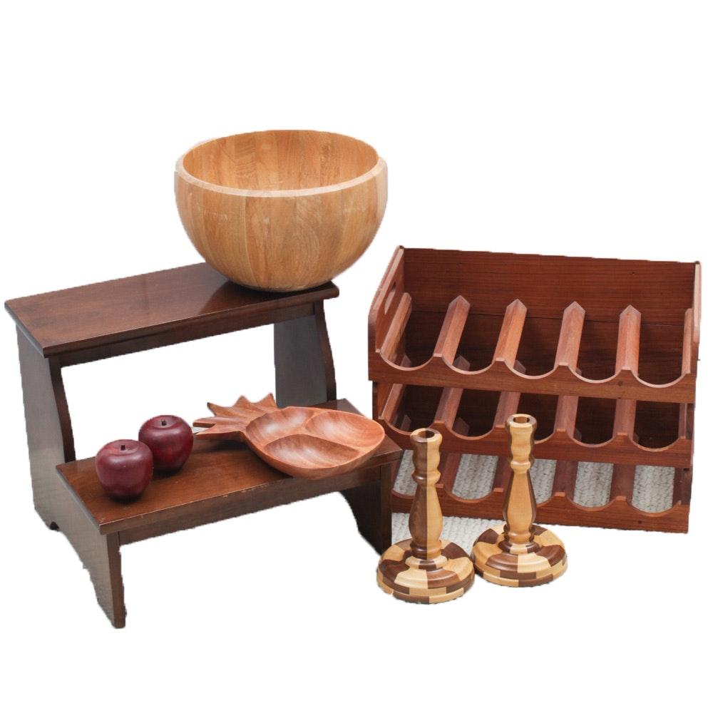 Wooden Wine Racks, Candlesticks and Tableware