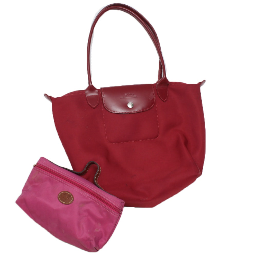 Longchamp Le Pliage Red Nylon Tote Trimmed in Red Leather and Carrying Case