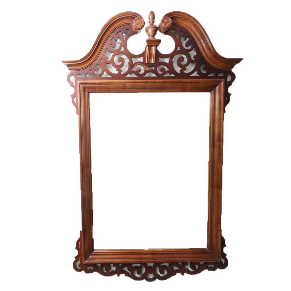 Vintage Federal Style Mahogany Veneer Wall Mirror