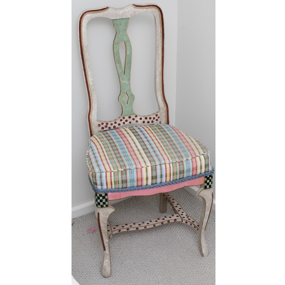 Contemporary Painted Side Chair in the Style of Mackenzie Childs
