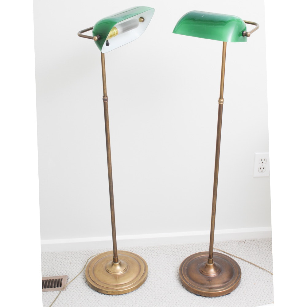 Vintage Brass Banker Style Floor Lamps
