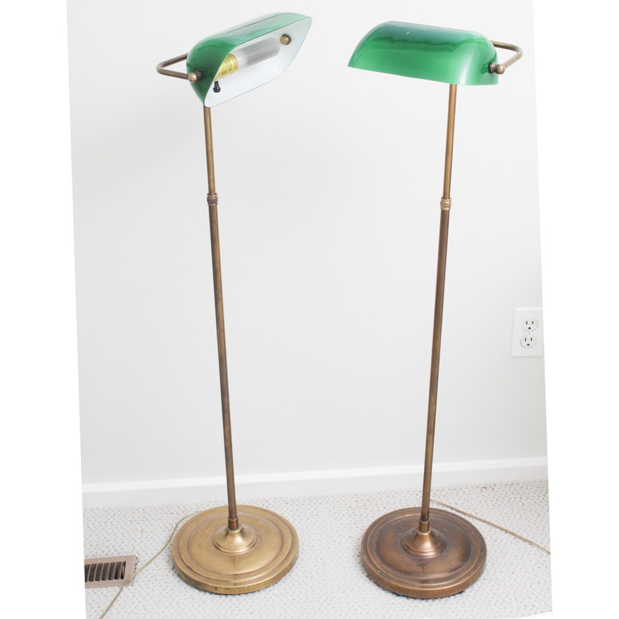 buy popular 106bb 6e9d9 Vintage Brass Banker Style Floor Lamps