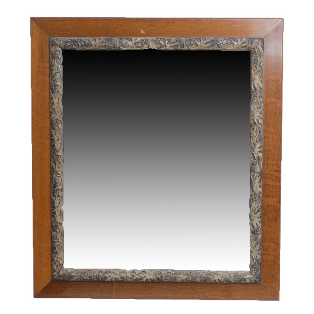 Vintage Oak and Gesso Wall Mirror