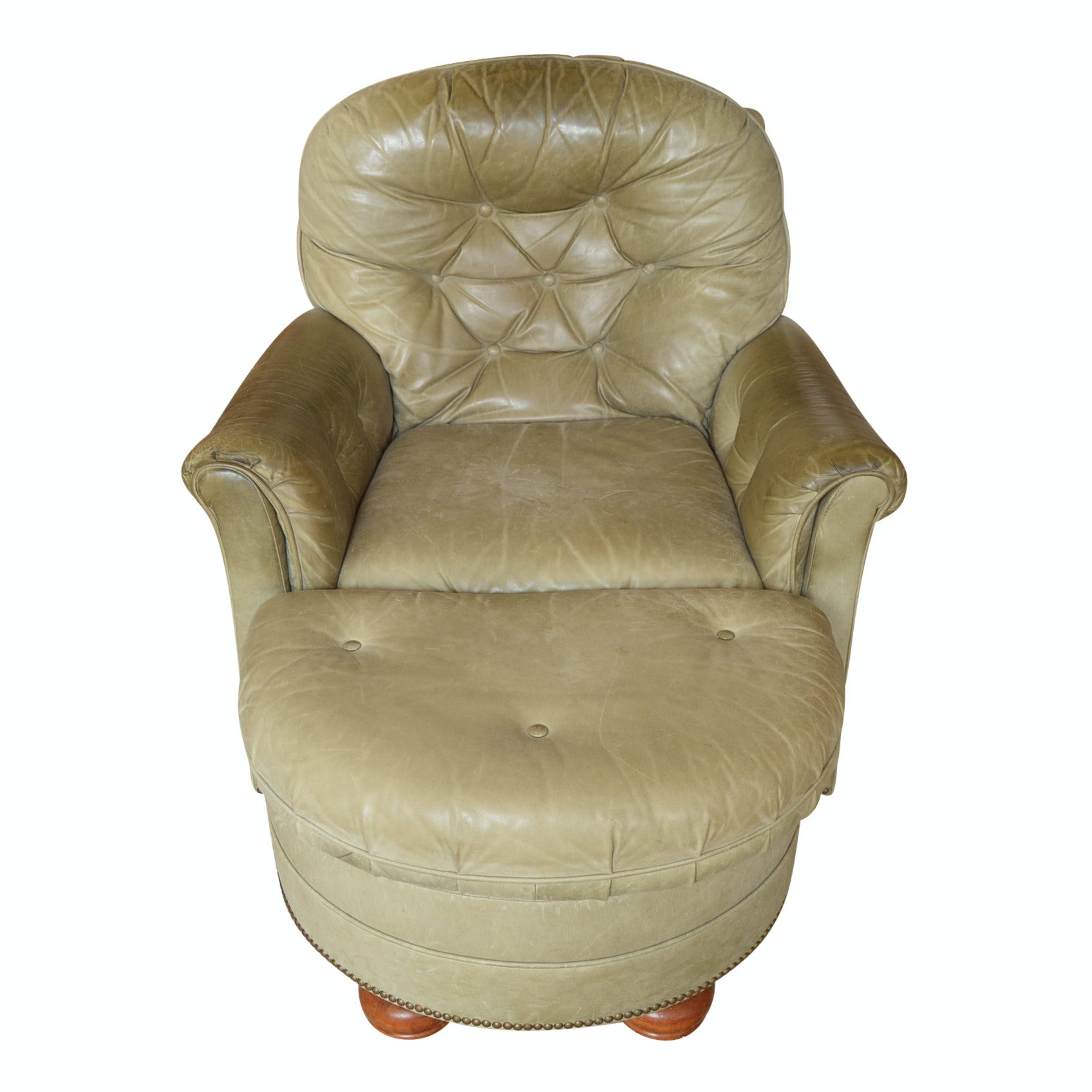 Century Olive Green Leather Armchair with Ottoman