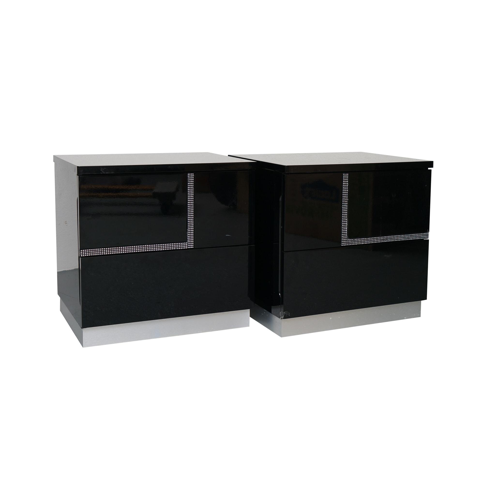 Pair of Black Deco Revival Nightstands